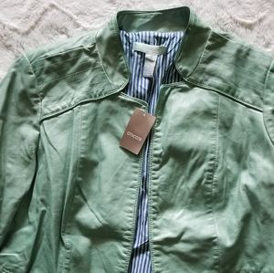 Chico's Mint Green Moto Open Jacket New Size 1
